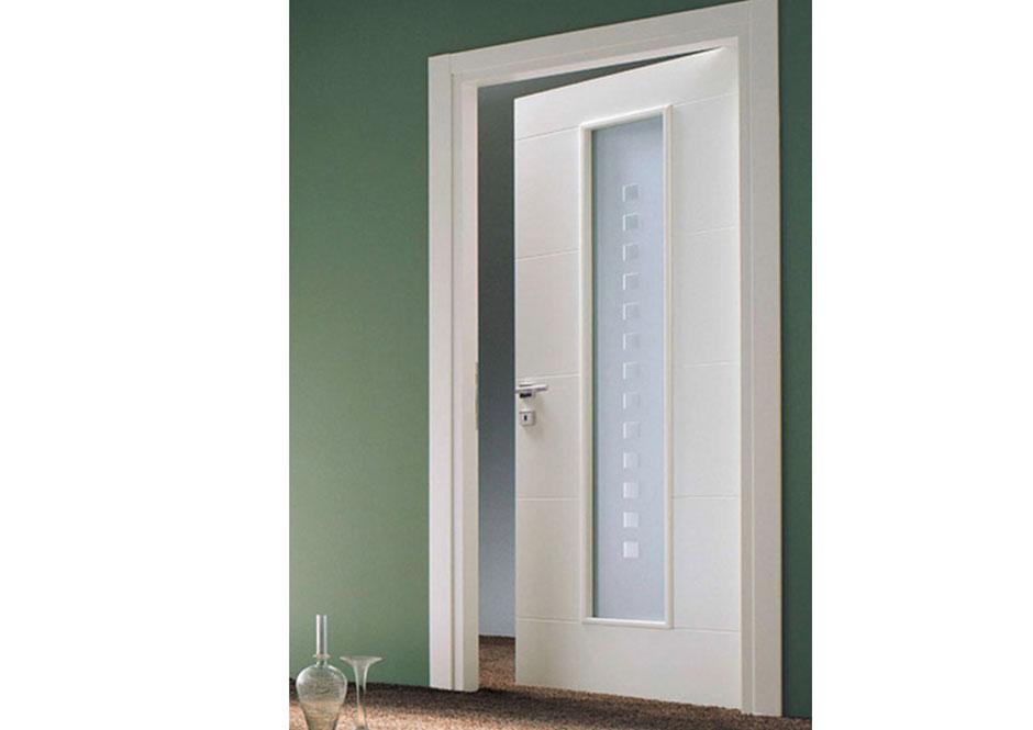 Porta laccata con vetro satinato decorato puntoci - Porta scorrevole con vetro ...