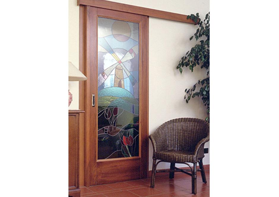 Porta scorrevole esterno muro con vetro decorato puntoci - Porta scorrevole vetro ...